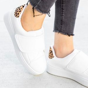 Quipid White Leather Velcro Sneakers with Cheetah